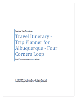 Travel Itinerary-Trip Planner for Albuquerque-Four Corners Loop
