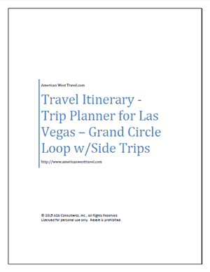 Travel Itinerary-Trip Planner for Las Vegas – Grand Circle Loop w/Side Trips